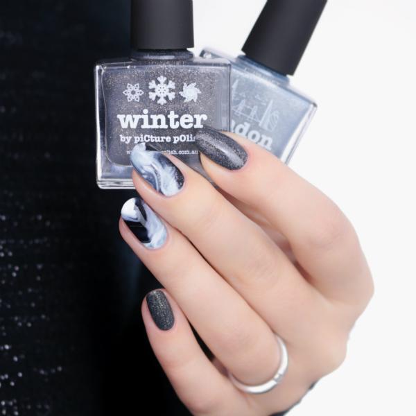 picture polish, winter, london, drip marble, monochrome